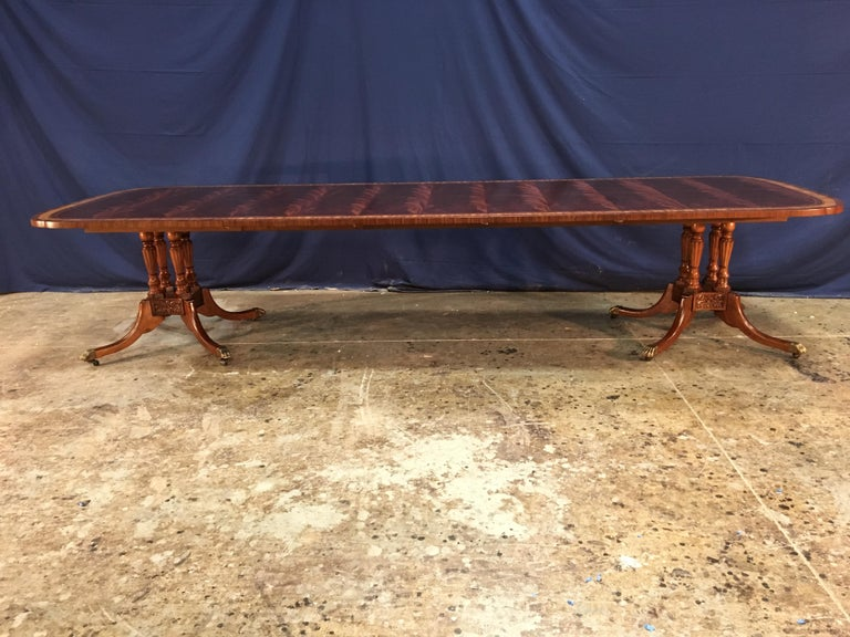 Georgian Custom Traditional Scallop Cornered Mahogany Dining Table by Leighton Hall For Sale