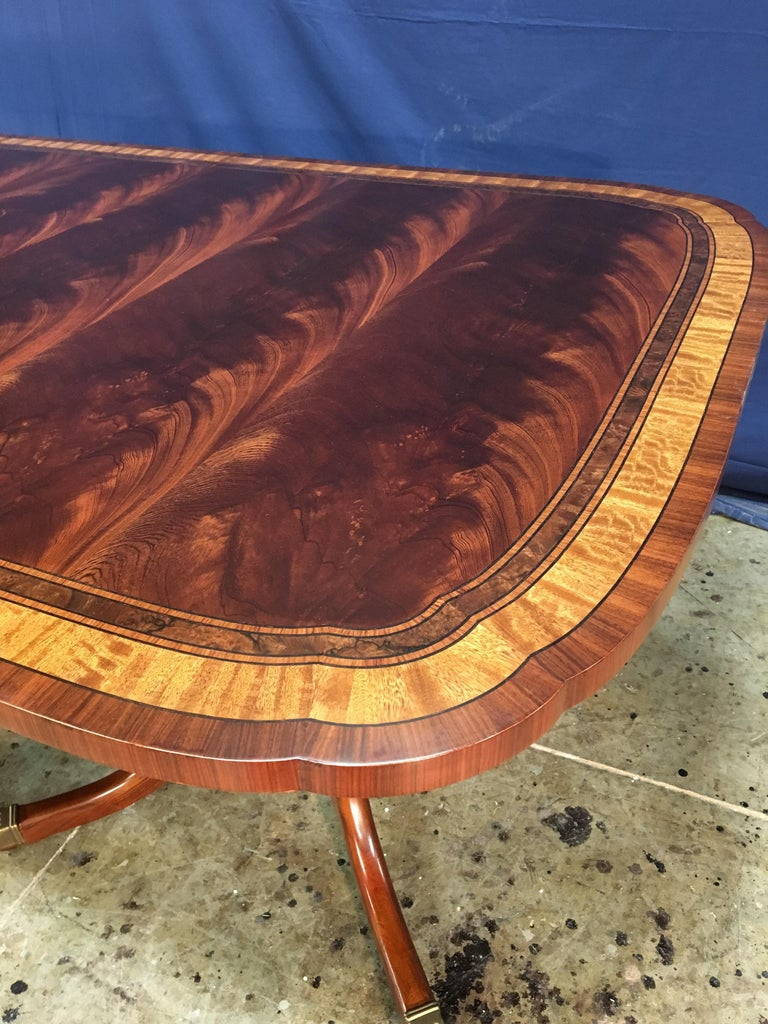 American Custom Traditional Scallop Cornered Mahogany Dining Table by Leighton Hall For Sale