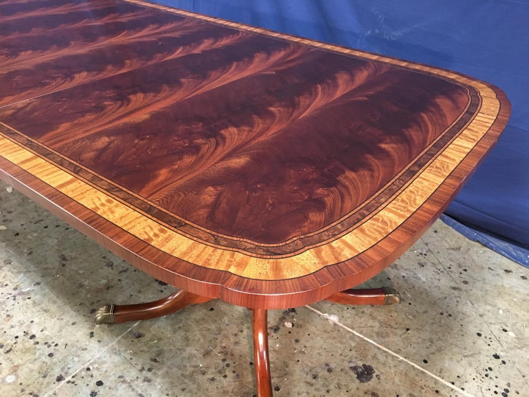 Custom Traditional Scallop Cornered Mahogany Dining Table by Leighton Hall In New Condition For Sale In Suwanee, GA
