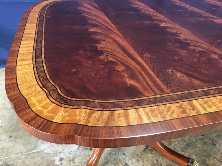 Contemporary Custom Traditional Scallop Cornered Mahogany Dining Table by Leighton Hall For Sale