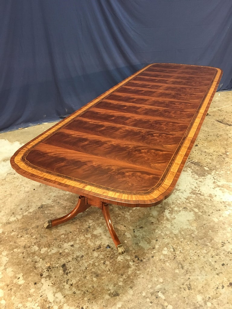 Custom Traditional Scallop Cornered Mahogany Dining Table by Leighton Hall For Sale 1