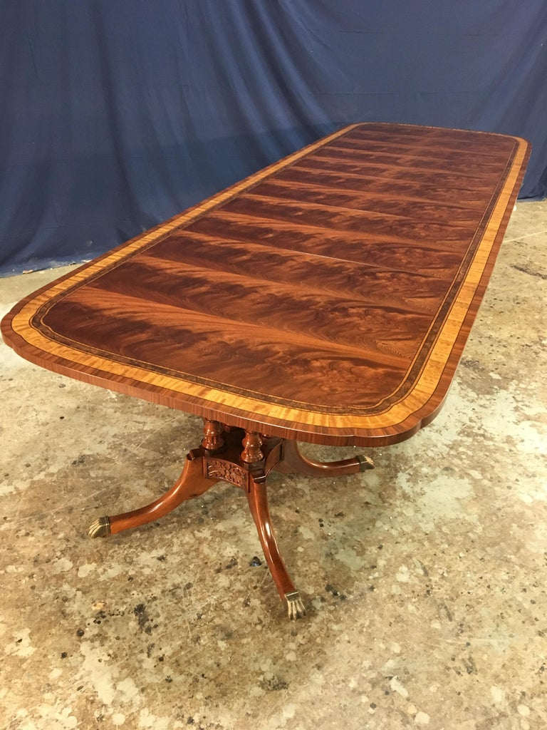 Custom Traditional Scallop Cornered Mahogany Dining Table by Leighton Hall For Sale 2