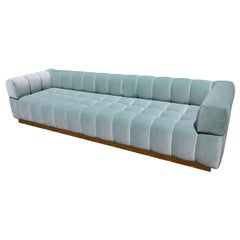 Custom Tufted Aqua Blue Velvet Sofa with Brass Base by Adesso Imports