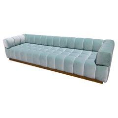 Custom Tufted Aqua Blue Velvet Sofa with Brass Base by Adesso Imports