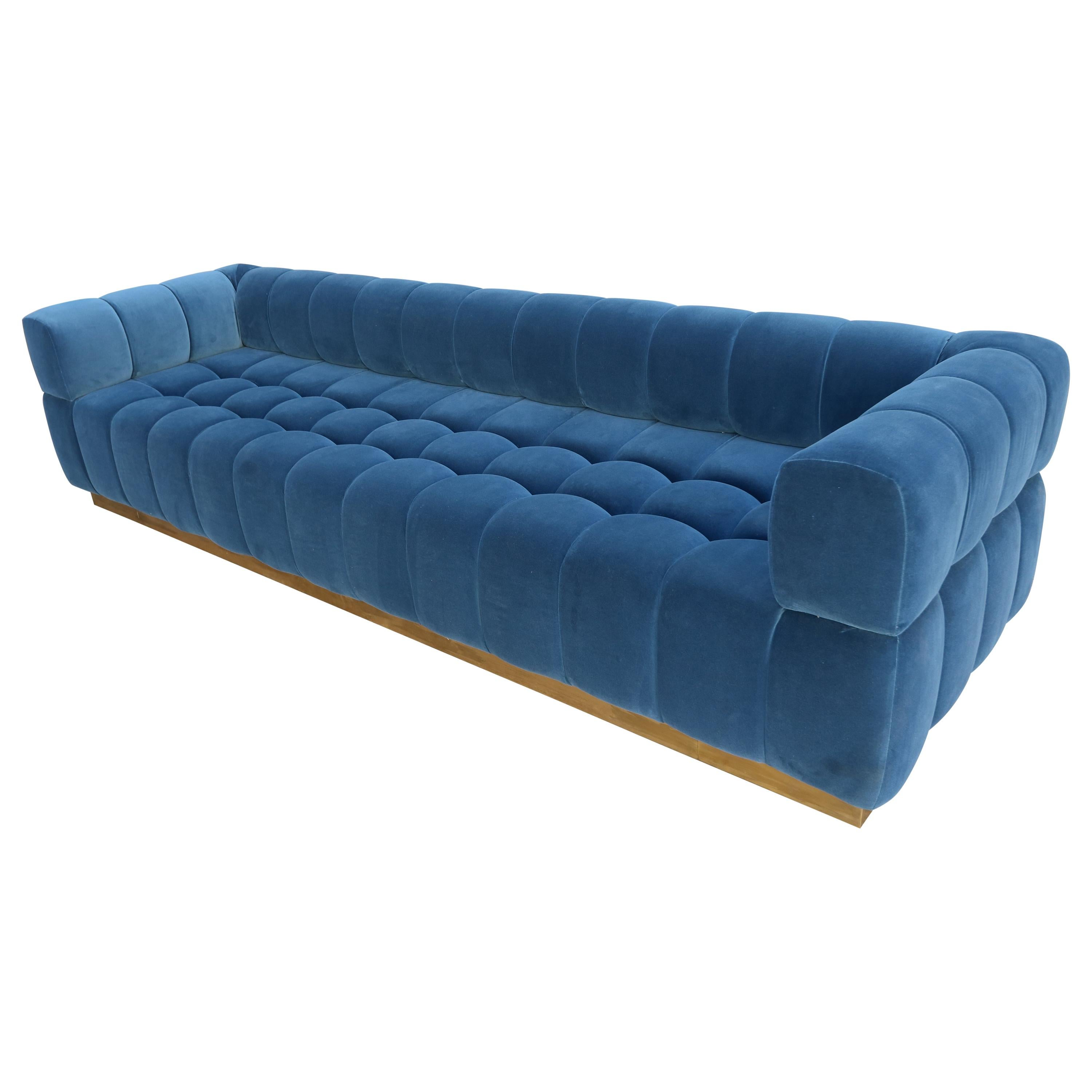 Custom Tufted Blue Velvet Sofa with Brass Base by Adesso Imports