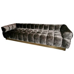 Custom Tufted Charcoal Brown Velvet Sofa with Brass Base by Adesso Imports
