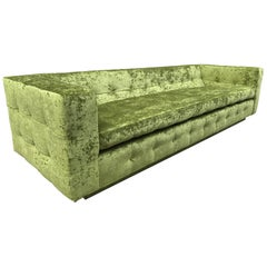 Custom Tufted Green Velvet Sofa, Custom Design