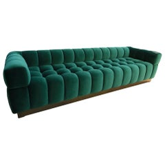 Custom Tufted Green Velvet Sofa with Brass Base by Adesso Imports