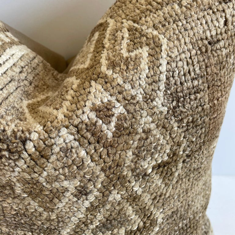 Hand-Woven Custom Turkish Kilim Rug Wool Pillow with Insert For Sale