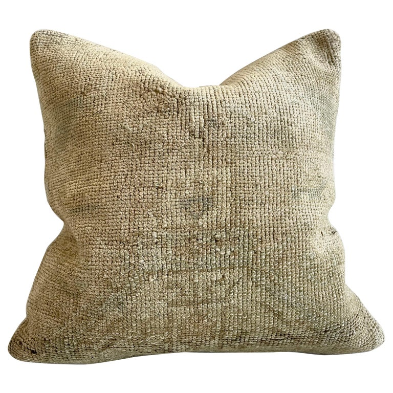 Custom Turkish Kilim Rug Wool Pillow with Insert For Sale