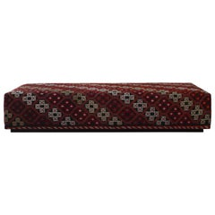 Custom Turkish Rug Upholstered Ottoman