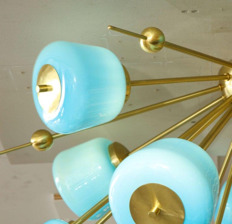Custom Turquoise Milk Glass Flush Mount Chandelier in Polished Brass For Sale 3
