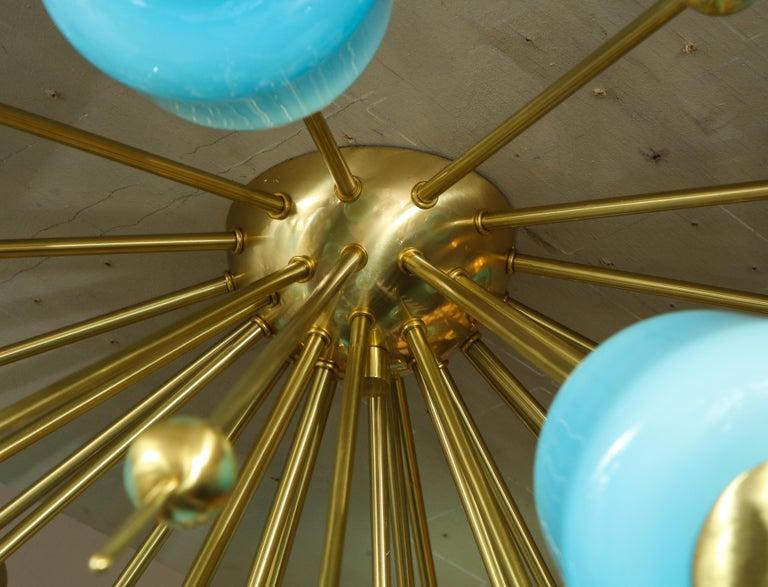 Custom Turquoise Milk Glass Flush Mount Chandelier in Polished Brass For Sale 5
