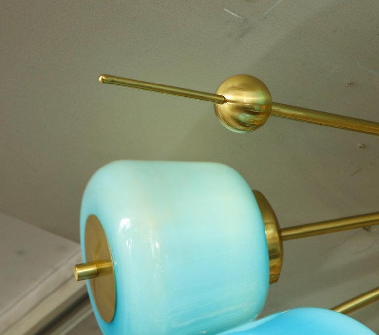 Custom Turquoise Milk Glass Flush Mount Chandelier in Polished Brass For Sale 7