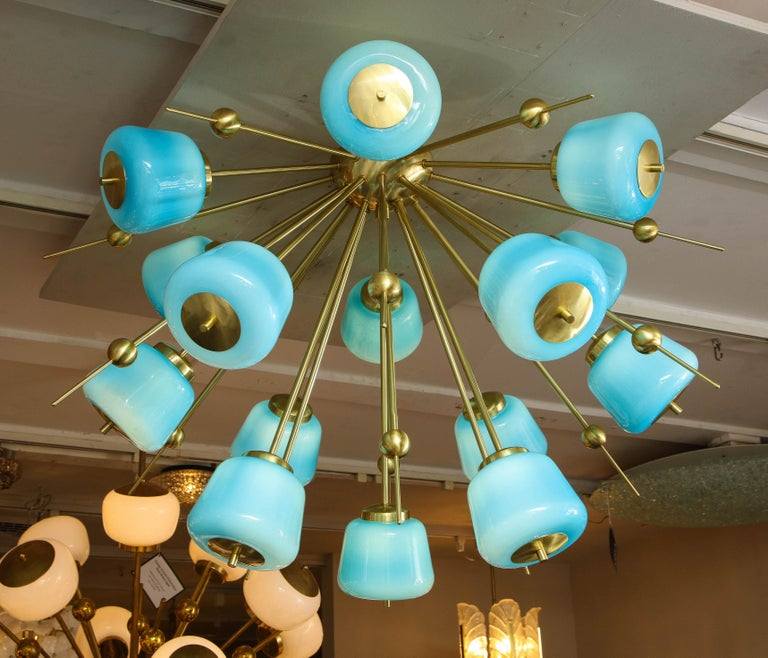 Mid-Century Modern Custom Turquoise Milk Glass Flush Mount Chandelier in Polished Brass For Sale