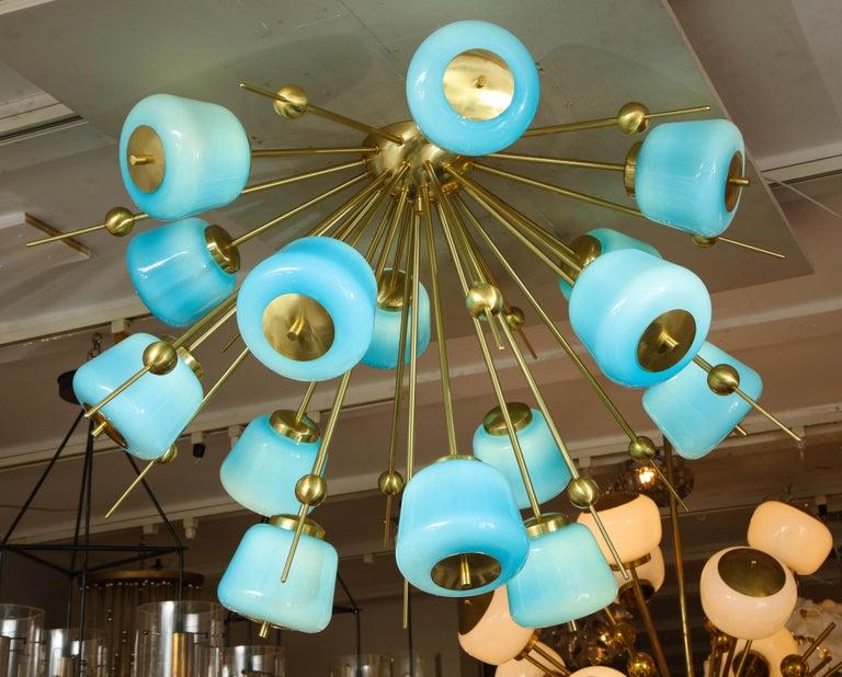 Italian Custom Turquoise Milk Glass Flush Mount Chandelier in Polished Brass For Sale