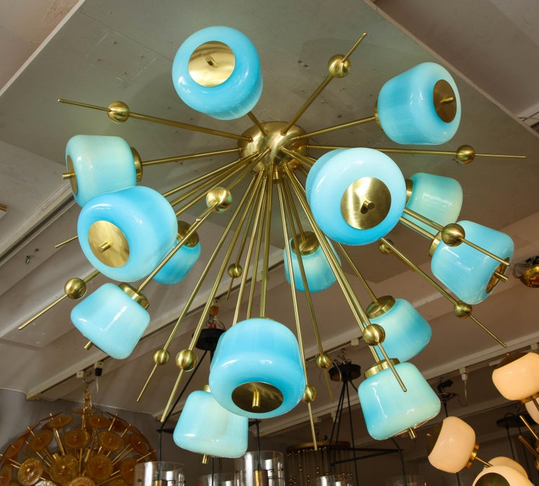Custom Turquoise Milk Glass Flush Mount Chandelier in Polished Brass In New Condition For Sale In New York, NY