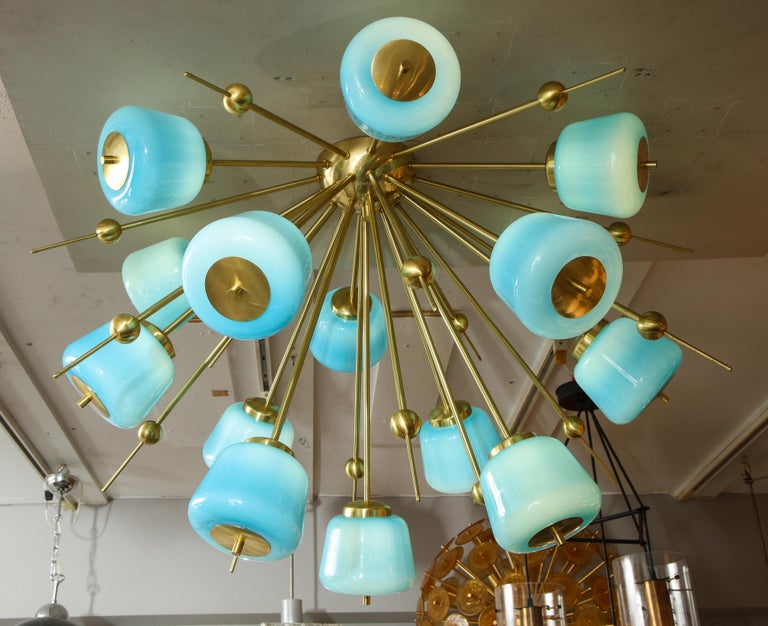 Contemporary Custom Turquoise Milk Glass Flush Mount Chandelier in Polished Brass For Sale