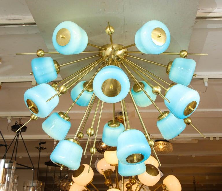 Murano Glass Custom Turquoise Milk Glass Flush Mount Chandelier in Polished Brass For Sale