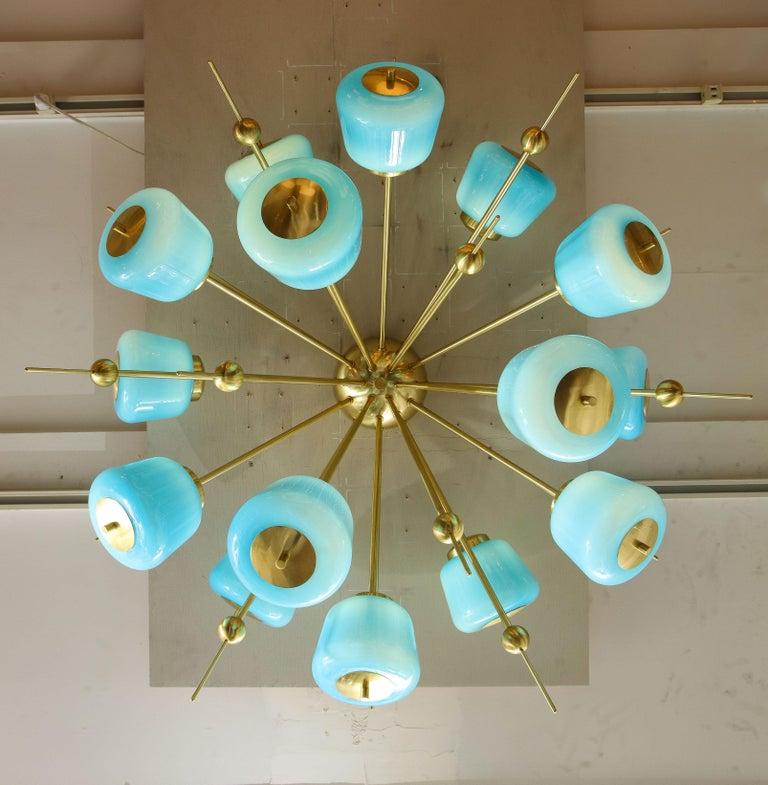 Custom Turquoise Milk Glass Flush Mount Chandelier in Polished Brass For Sale 1