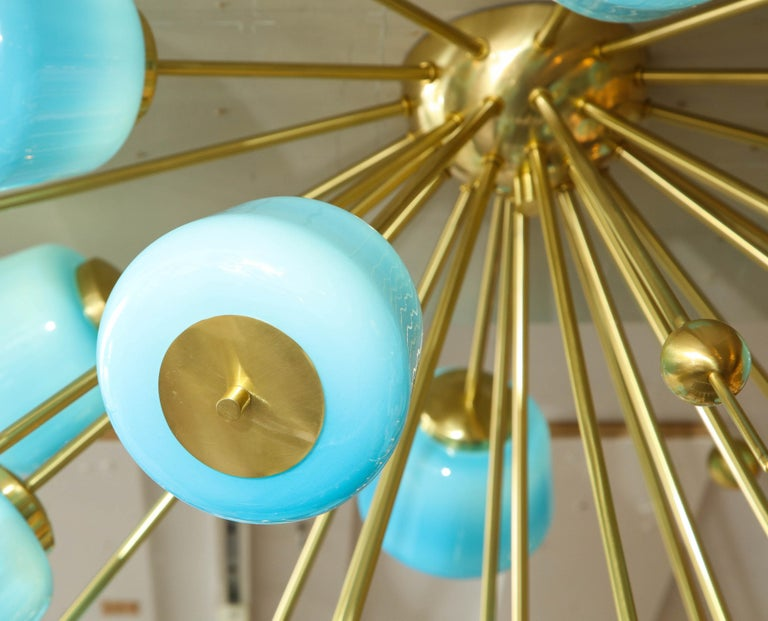 Custom Turquoise Milk Glass Flush Mount Chandelier in Polished Brass For Sale 2