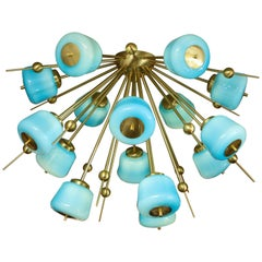 Custom Turquoise Milk Glass Flush Mount Chandelier in Polished Brass