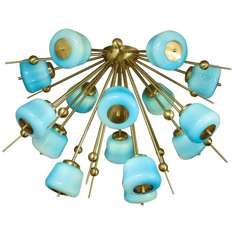 Custom Turquoise Milk Glass Flush Mount Chandelier in Polished Brass For Sale