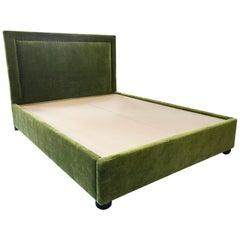 Custom Tuxedo Style Queen Bedframe in Green Mohair