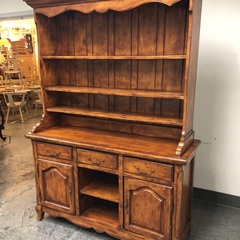 Custom Two Piece Alder Wood Credenza And Hutch For Sale At 1stdibs
