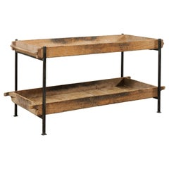 Custom Two-Tiered Table Made from French Antique Baker's Bread Rising Shelves