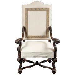 Custom Upholstered, Antique Hall Chair