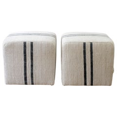Custom Upholstered Cube Ottomans in Natural Grain Sack with Black Stripe