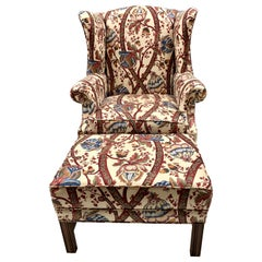 Custom Upholstered Georgian Wingback Chair with Ottoman
