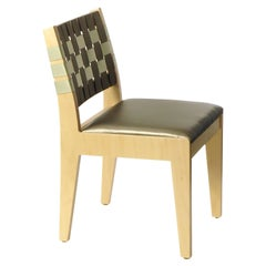 Custom Upholstered Maple Side Chair with Woven Back Made in USA by Peter Danko