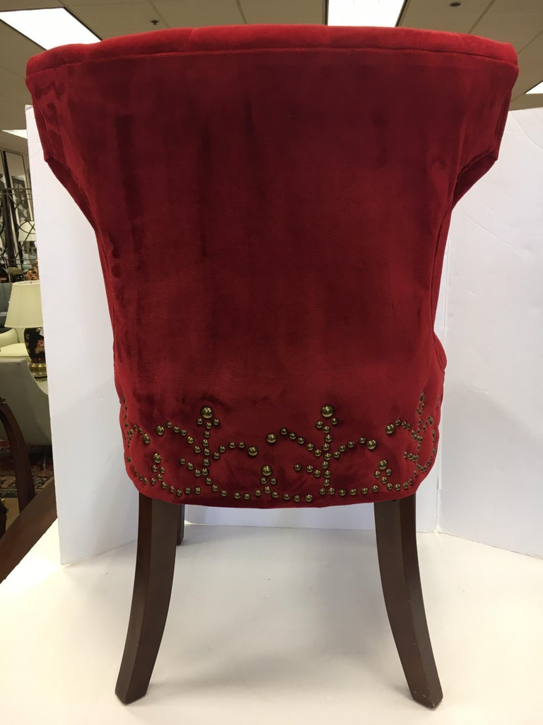 Pleasant Custom Upholstered Nailhead Red Tufted Dining Chair Andrewgaddart Wooden Chair Designs For Living Room Andrewgaddartcom