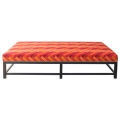 Custom Upholstered Ottoman on Oak Base