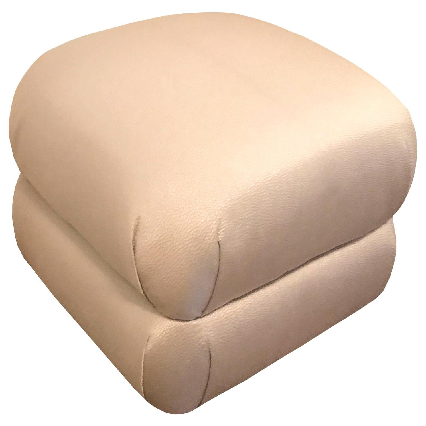 Custom Upholstered Pouf Ottomans in Gray or COM