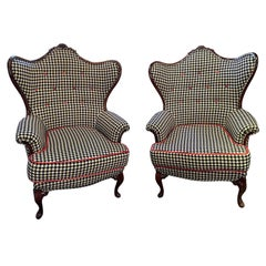 Custom Upholstered Wingback Chairs with Art Decorative Treatment