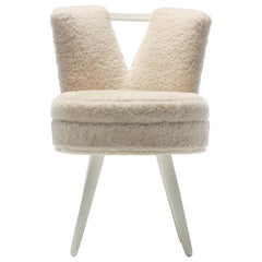 Custom Vanity Stool in Ivory Cream Shearling with Leather Trim