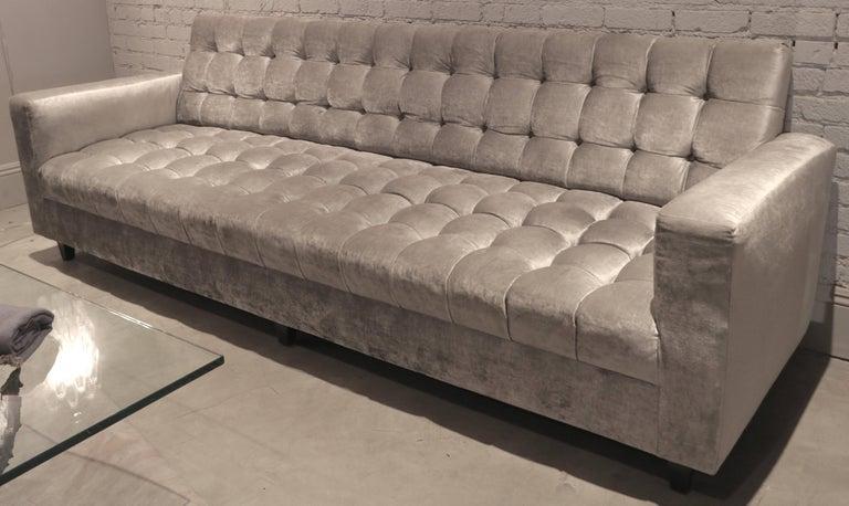 American Custom Velvet Tufted Sofa For Sale