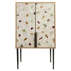 Custom Vetrazzo Terracotta 2-Door Bar Cabinet by Ercole Home