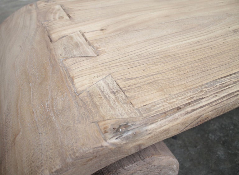 Custom Vintage Elmwood Curled Stump Base Coffee Table For Sale 2