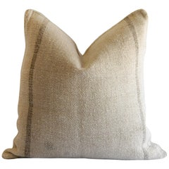 Custom Vintage Grain Sack Pillow with Brown Stripes