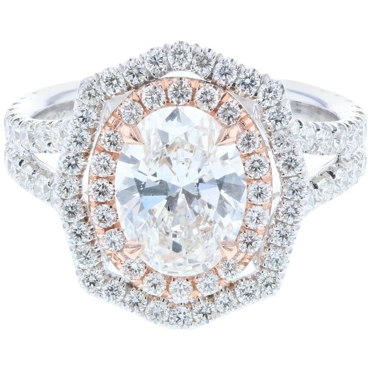 Custom Vintage Inspired Oval Diamond Engagement Ring 'GIA Certified' For Sale