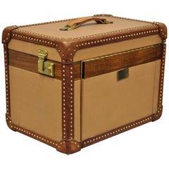 Custom Vintage Italian Leather Toiletry Box Case Travel Trunk Nailhead Trim