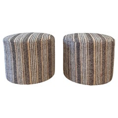 Custom Vintage Turkish Rug Round Ottomans in Brown and Pinks