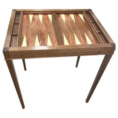 Custom Walnut Game Table with Backgammon and Pull out Chess Top
