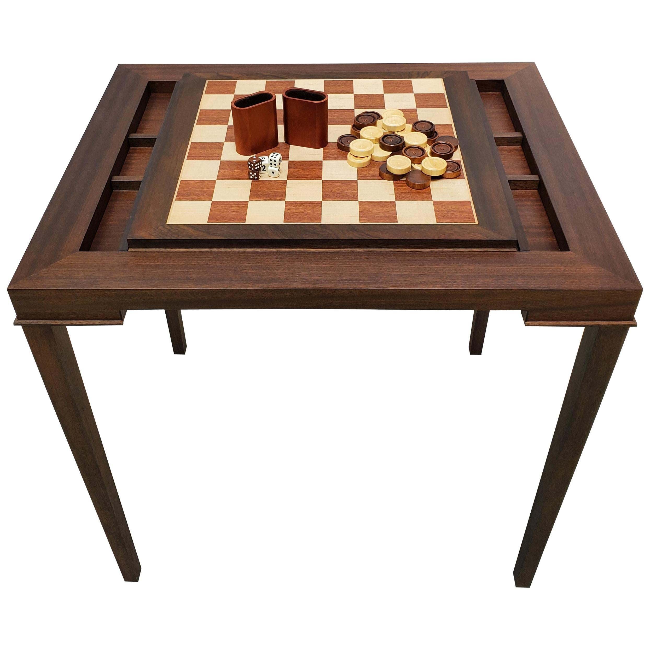 Custom Walnut Game Table with Backgammon and Chess Table