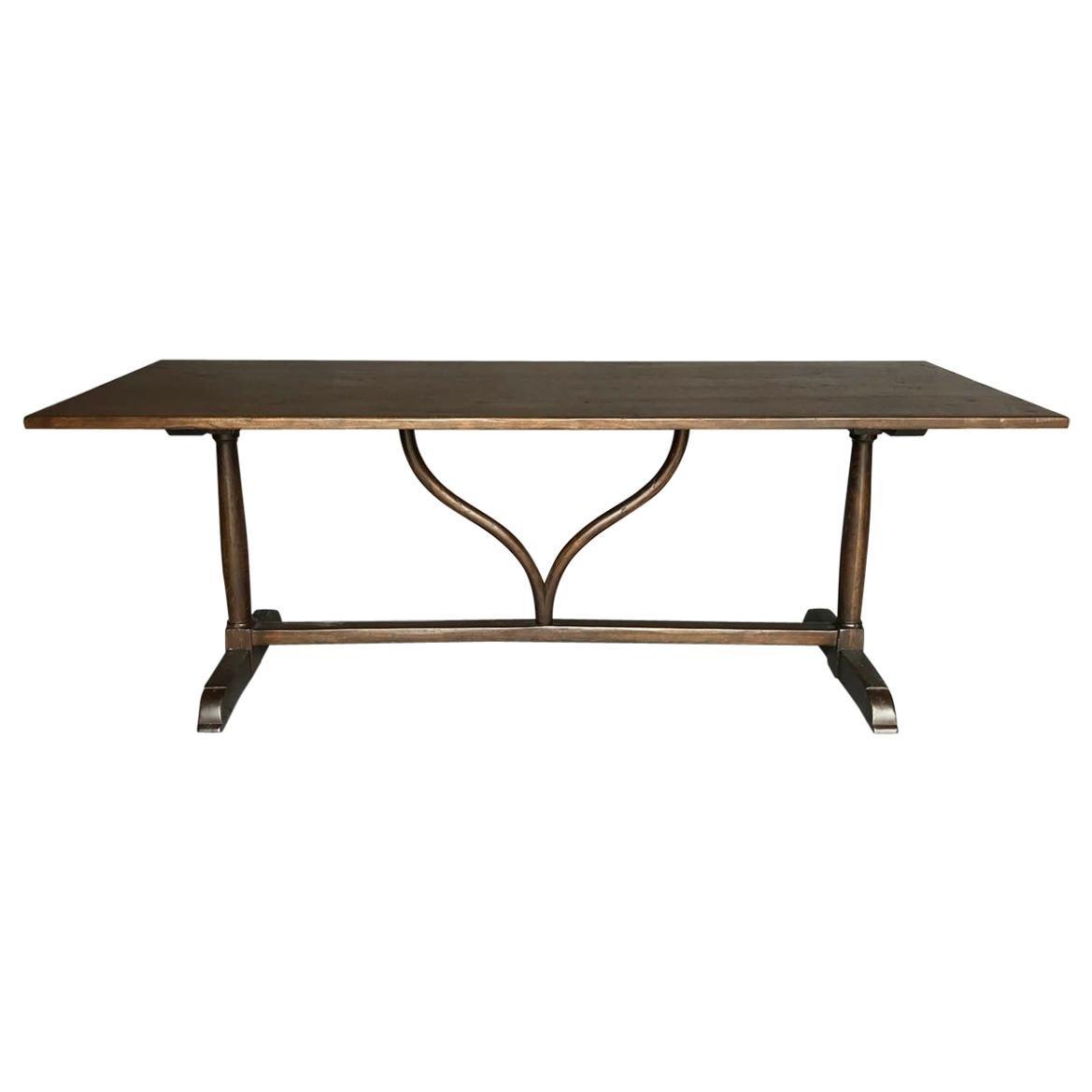 Custom Walnut Desk or Dining Table with Wishbone Stretcher