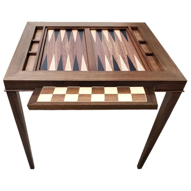 Custom Walnut Game Table with Ebony Backgammon and Chess Table